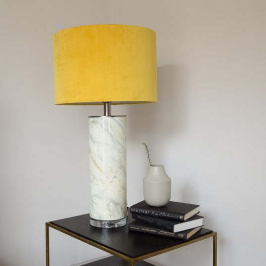 MUSTARD GLASS ABSTRACT TABLE LAMP