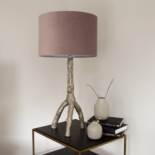 GOLD TRIPOD TABLE LAMP – DUSTY PINK