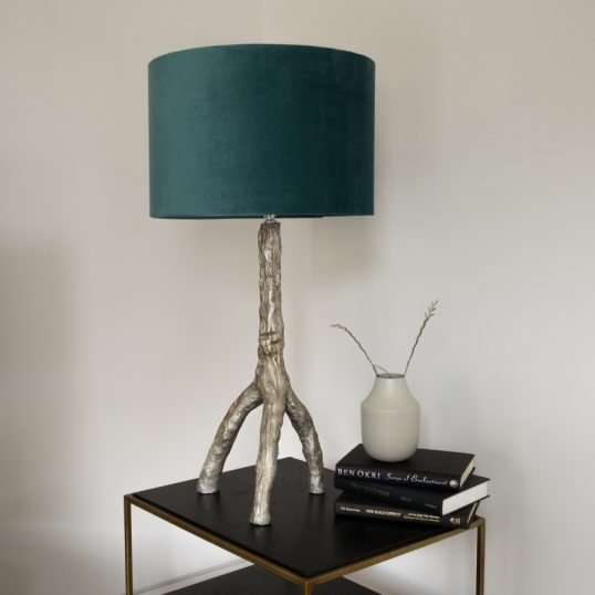 GOLD TRIPOD TABLE LAMP – TEAL